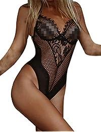 Damen Transparent Spitzebody Stringbody Dessous Overall Nachtwäsche Bodysuit