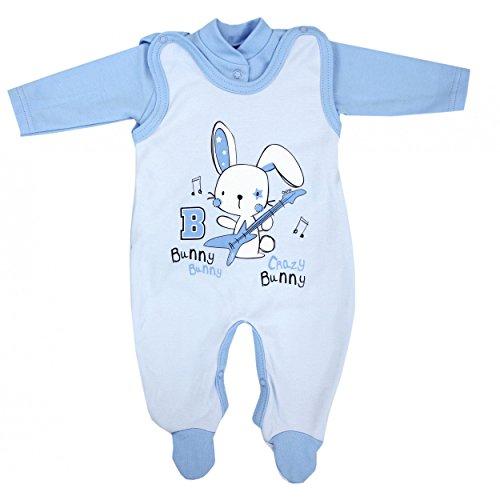 Baby Strampler mit Spruch I love Mum and Dad oder mit Aufdruck 2-tlg. Stramplerset mit Oberteil, Farbe: Kaninchen Blau, Größe: 56