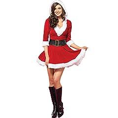 Idea Regalo - PROKTH Costume da Babbo Natale, Gonna Natalizia da Donna, Cosplay Costume Carnevale Partito Vestito, Rosso Bianco, Taglia Unica