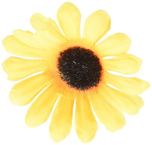 100x Kuenstliche Gerbera Blumen Koepfe fuer DIY Hochzeit (Gelbe Sonnenblume) (Sonnenblumen-blütenblatt Stirnband)