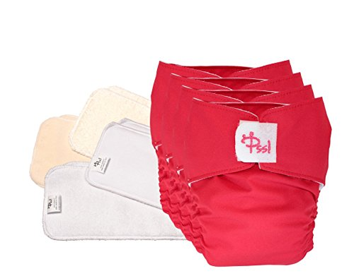 PSS! Pannolini lavabili POCKET - Easy Kit 4 cambi ROSSO - 4 Cover e 8 pannoli assorbenti - Made in Italy