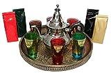 DonRegaloWeb - Juego de té marroquí con bandeja, tetera, vasos y surtidos de tes