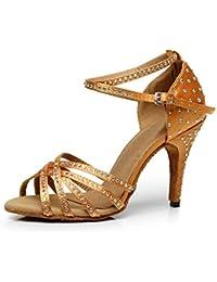 XUE Damen Latein Schuhe/Salsa Schuhe Ballsaal Schuhe Sandale PU Ferse Tanzschuhe Party  Abend Bronze Schwarz...