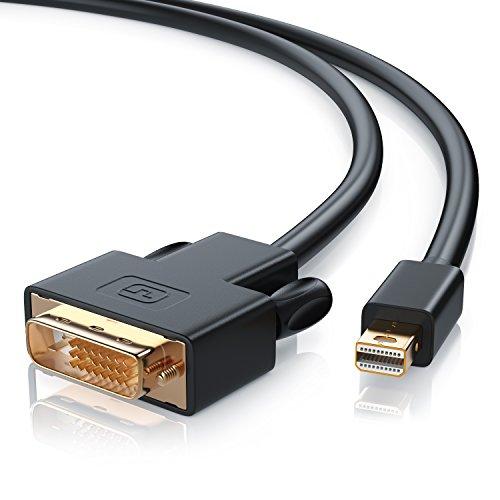 CSL - Mini Displayport auf DVI Kabel 2m | Full HD HDTV 1080p | miniDP auf DVI Dual Link 24+1 | Kompatibel mit Thunderbolt 1- und Thunderbolt 2-Ports | kompatibel mit Apple Lenovo Surface | schwarz (Surface Mini-displayport-hdmi-av)