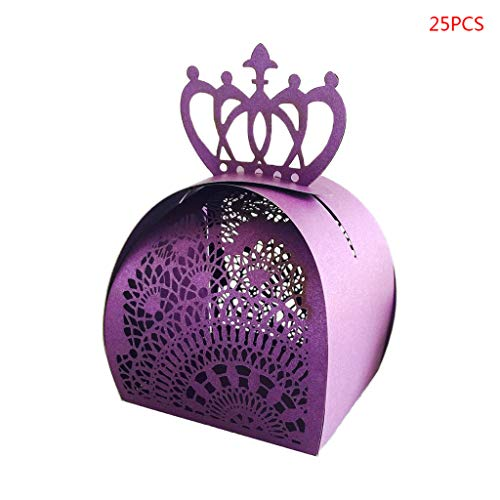 ECMQS 25pcs/Pack Crown Shape Hollow Favors Gifts Chocolate Candy Boxes Baby Shower Wedding Party Supplies