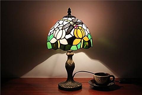 Shopping-8-Zoll-europäischen Stil Garten kleine Tischlampe Schlafzimmer Nachttischlampe bar Fensterglaslampe Tiffany Libelle Lampe