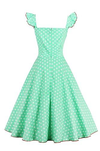 Babyonline – Damen 50er, 60er Vintage Kleid Petticoat Polka Dots Knielang Grün - 2