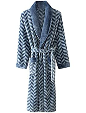 Pijamas de los hombres, franela caliente noche vestido de la raya ropa de casa de moda