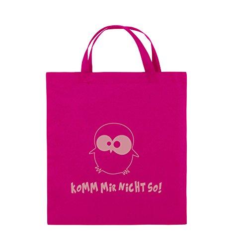 Borse Comiche - Non Venire Così! - Gufo - Borsa Di Juta - Manico Corto - 38x42 Cm - Colore: Nero / Rosa Rosa / Rosa