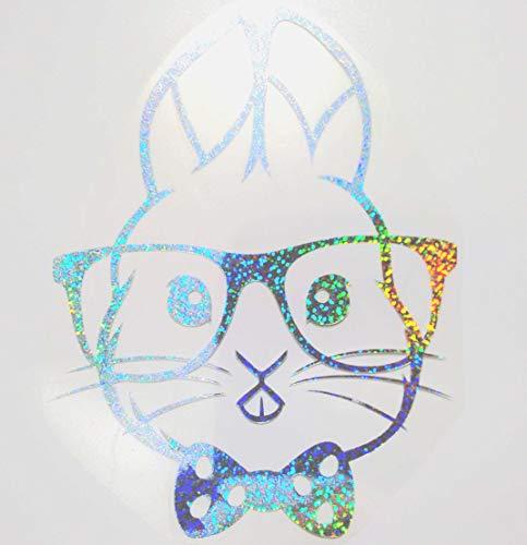 Bügelbild, Motiv: Hase mit Brille, Farbe: silber-regenbogen, Größe: 16x20,5cm, heißsiegelfähige Flexfolie