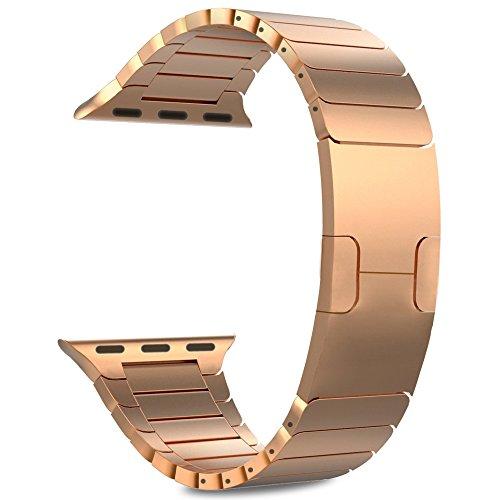 Produktbild Woodln für Apple iWatch Series 1 Series 2 Edelstahl Uhrenarmband Strap Replacement Wrist Band Armband für Apple Watch 42 mm / 38 mm (42MM,  RoseGold1)