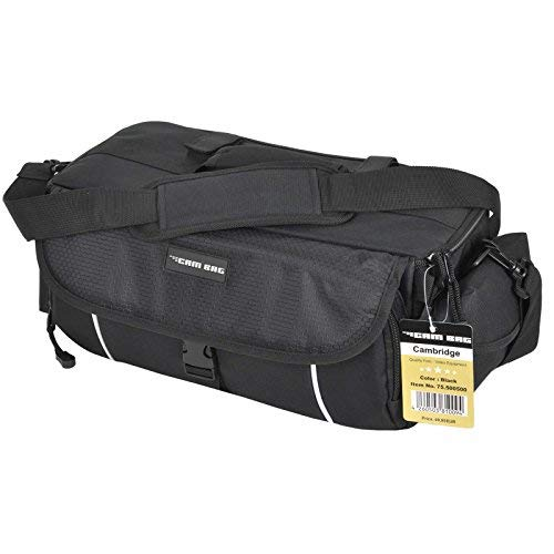 XL Kameratasche KEANU Fototasche :: 10 x Starke Polster Pads, Stativhalterung, 2 Seitentaschen :: Cambridge PRO für Video D-SLR Go Kamera mit Wechselobjektive mit Zubehör (Black) Slr-video
