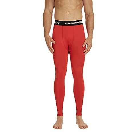 COOLOMG Kompressionshose Laufhose Länge Hosen Leggings Schnell trocken Für Männer Jugendjunge Rot