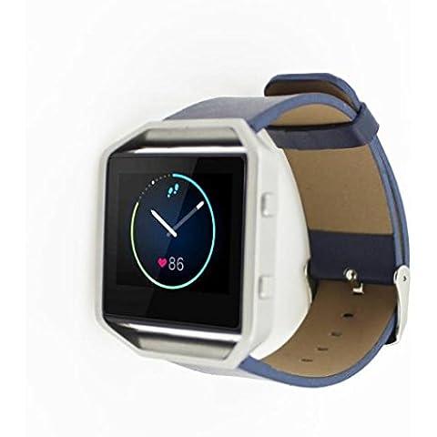 per Fitbit Blaze Smart Watch,Amlaiworld Lusso genuino Cinturino in pelle per Fitbit Blaze Smart Watch (blu)