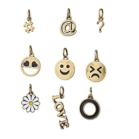 Lux Accessoires Burnish or kitcshy Coussin Smiley Face fantaisie avec hashtags Charms 9P