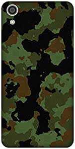 The Racoon Lean printed designer hard back mobile phone case cover for HTC Desire 728. (Military c)