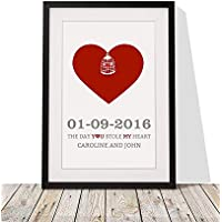 Personalised Valentine's Day Present For Him Her | Heart Design With Love Birds Framed Print | 12x10 Inch Wall Décor Wedding Anniversary Present | Black