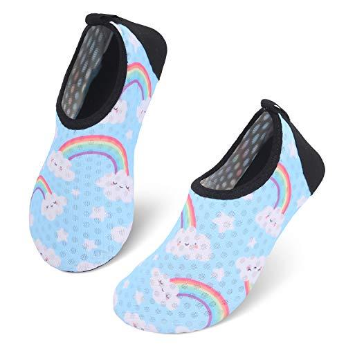 JIASUQI Kinder Wasserschuhe Schwimmen Schuhe Barfuß Aqua Socken für Strand Pool Sand Himmel Blau, 30/31 EU -