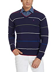 LP Louis Philippe Mens Cotton Sweater (8907545559623_LYSW516S18193_Medium_Dark Blue With Red )