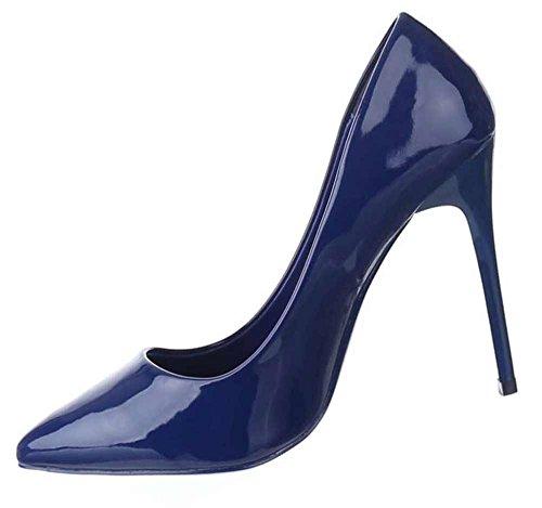Damen-Schuhe Pumps | Klassische Frauen High Heels mit 11 cm Stiletto-Absatz in verschiedenen Farben und Größen | Schuhcity24 | in Lacklederoptik Blau