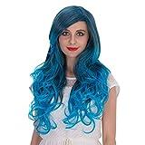 HongHu Femmes Partie de la chaleur Élégant Longue Grande Perruque Frisée Ondulée Anime Cosplay Plein de Perruques de Fête de Cheveux ou Perruque à Usage Quotidien Gradient Surligné Bleu