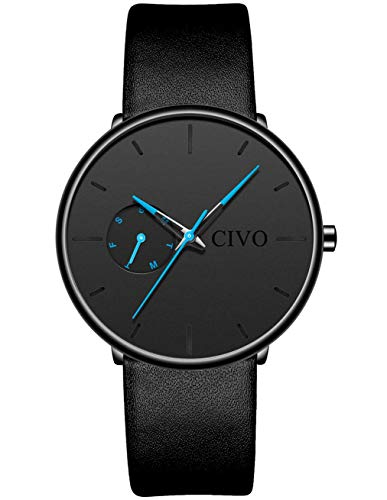 CIVO Relojes de Hombre Impermeable Ultra Fino Reloj de Cuero Negro Minimalista Moda Deportivo Calendario...