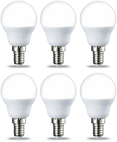 AmazonBasics LED E14 Small Edison Screw Golf Ball P45 Bulb, 5.5W (Equivalent to 40W), Warm White- Pack of 6