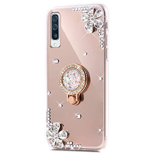 Kompatibel mit Xiaomi Redmi Note 7 Hülle Spiegel Schutzhülle,Bling Glitzer Strass Diamant Kristall Blumen TPU Silikon Hülle mit Ring 360 Grad Ständer Soft Silikon Handyhülle Tasche Case,Gold -
