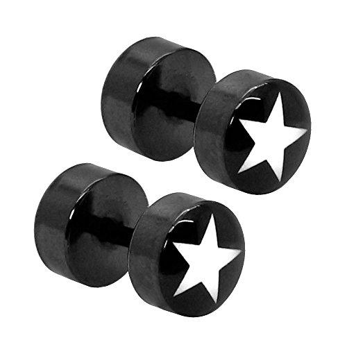 tumundo 2 Fake-Plugs 8mm Ohr-Stecker Ohrringe Stern Sterne Schwarz Weiß Fake-Tunnel Piercing Hantel Star Edelstahl