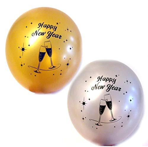 Silvester Luftballons je 5 Silber 5 Gold- ca. Ø 30cm - 10 Stück - Made in Germany nach EN 71 - Ballons als Deko, Party, Silvester Happy New Year Jahreswechsel - für Helium geeignet - twist4®