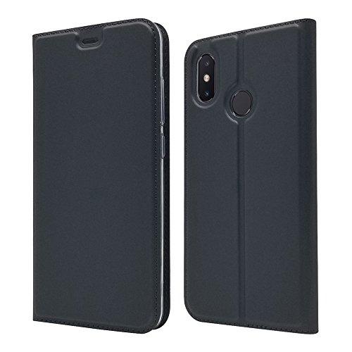 LAGUI Funda Xiaomi Mi 8, Ultrafina Carcasa Minimalista Tipo Libro con Tapa Imantada y Ranura para Tarjeta y Soporte Horizontal, Negro