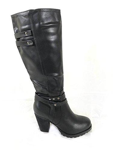Mesdames Femmes Mid talon bloc Basse Mollet Genou Haut à fermeture éclair équitation Bottes Chaussures - Black (1255)