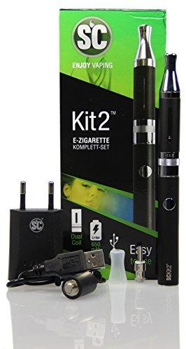 E-Zigaretten Komplett-Set SC Kit 2 in schwarz (Für Einsteiger und Profis) - perfektes Preis-Leistungsverhältnis