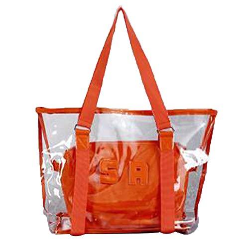 Lazzboy 2 Stück Handtasche Umhängetasche Schultertasche Mode Frauen Klar Strandtasche Wasserdichte (große Tasche + kleine Tasche)(Orange) (Halos Orangen)