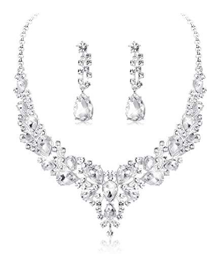 YADOCA Kristall Braut Halskette Ohrringe Set Hochzeit Teardrop Cluster Halskette Tropfen Ohrringe für Frauen Brautjungfer Kostüm Formal Dress Jewelry Set