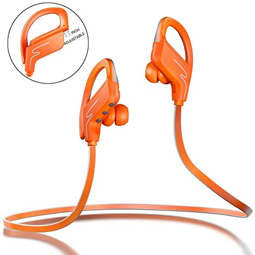 Sound One SP-6 Bluetooth Headphones, Runner Headset Sport HiFi Stereo Sweatproof Earphones with Mic and Earhook - Wireless Earbuds for Running (Orange)  available at amazon for Rs.1990