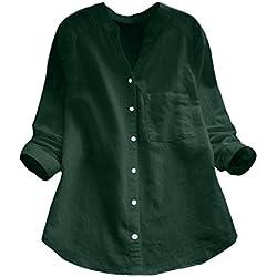 Luckycat Blusas Lluckycat Algodón de Lino Camisa de Manga sólida Ocasional Blusa con Botones para Mujer XXL Verde