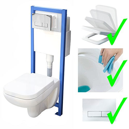 All-In-One-Set V3: Lavita Vorwandelement inkl. Drückerplatte chrom + Wand WC ohne Spülrand + WC-Sitz mit Soft-Close-Absenkautomatik