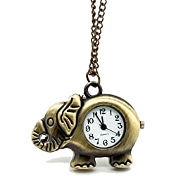 Vantasy Retro Adorable Vintage Elephant Pattern Pocket Watch Pendant Long Chain Necklace Size: 1.37X0.98X0.31