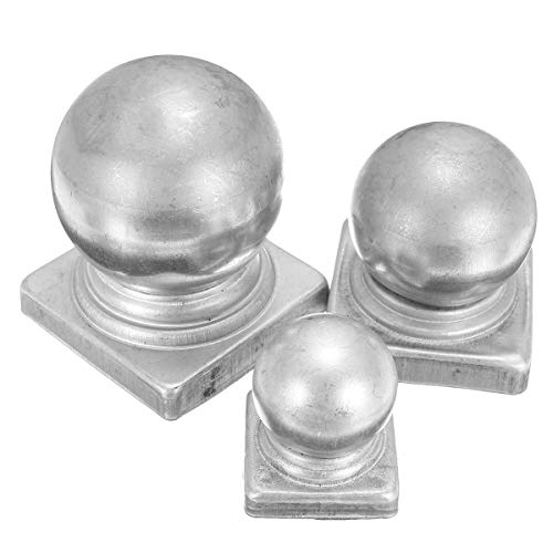 40mm 60mm 70mm Iron Ball Top Fence Finial Post Cap with Flat Square Base Decor Protection - 70mm - Square Base Post