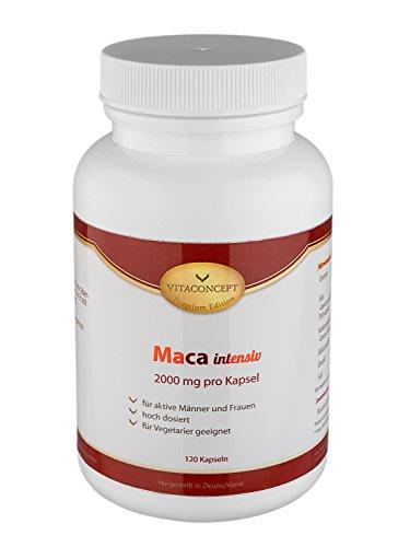 Maca intensiv * 2000 mg pro Kapsel * 120 Kapseln - Das Orginal - erfüllt höchste Pharma-Qualitätskriterien - Muskelaufbau - Energie & Kraft - Made in Germany - für Vegetarier geeignet - VITACONCEPT
