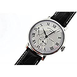 Mechanical Clock Eberhard 8 Jours Grand taille 21027 quandrante Steel White Leather Strap