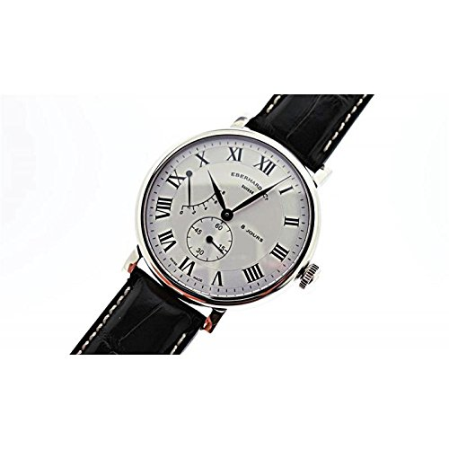 Mechanical Clock Eberhard 8Jours Grand taille 21027quandrante Steel White Leather Strap