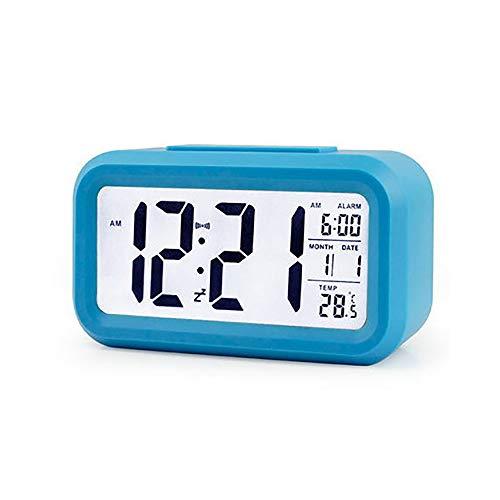 PENGYUE Wecker Lazy Snooze Wecker Stumm von Hinten Beleuchtete elektronische Uhr Creative Digital Clock Geschenk Blau