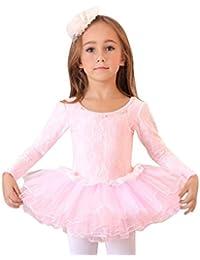 Geschenk-Idee! Spitze bedeckte rosa Ballett- Ballettröckchen-Kleid , Größe 4-8 , Preis / Stück - 6