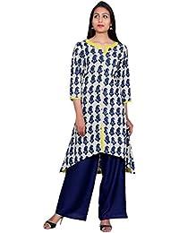 Teej Women's Designer Indigo Kurta Kurti Asymmetric Hem Rayon Palazzo Dress