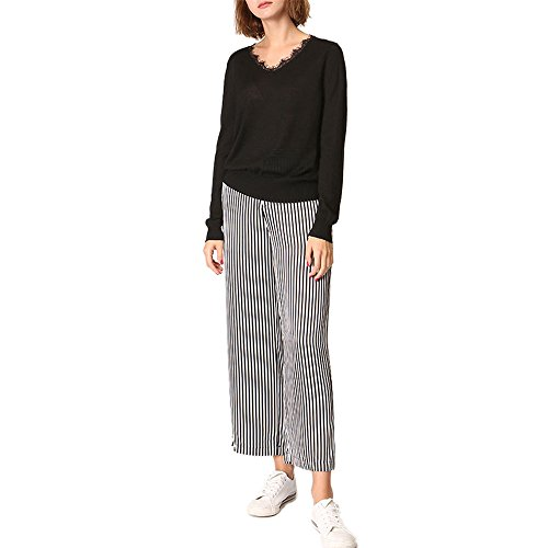 CICI RAN Frauen reizvoller beiläufiger V Ansatz-Pullover-Spitze-langer Hülsen-Strickjacke