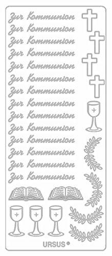 Ursus 59310032 - Kreativ Sticker, Kommunion, 5 Blatt, silber