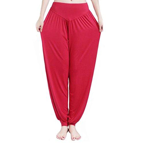 MEISHINE® Damen Modal Elastisch Haremshose Pluderhose Pumphose Ideal für Sport Yoga Tanz Jogging Dance (3XL, Weinrot)