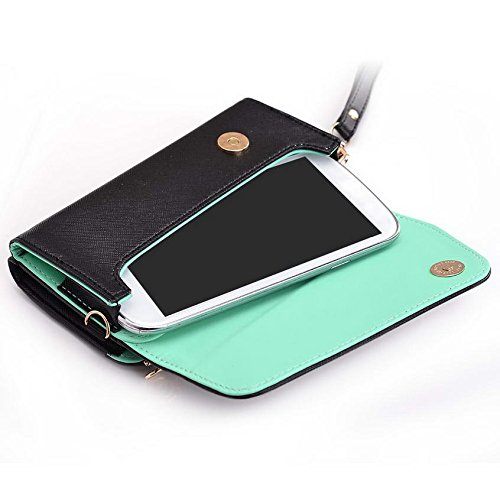 Kroo d'embrayage portefeuille avec dragonne et sangle bandoulière pour Blu Vivo Air/Life Play Multicolore - Green and Pink Multicolore - Black and Green